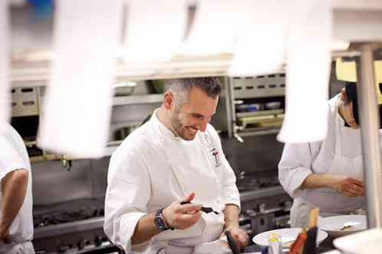 David Bazirgan in the kitchen.