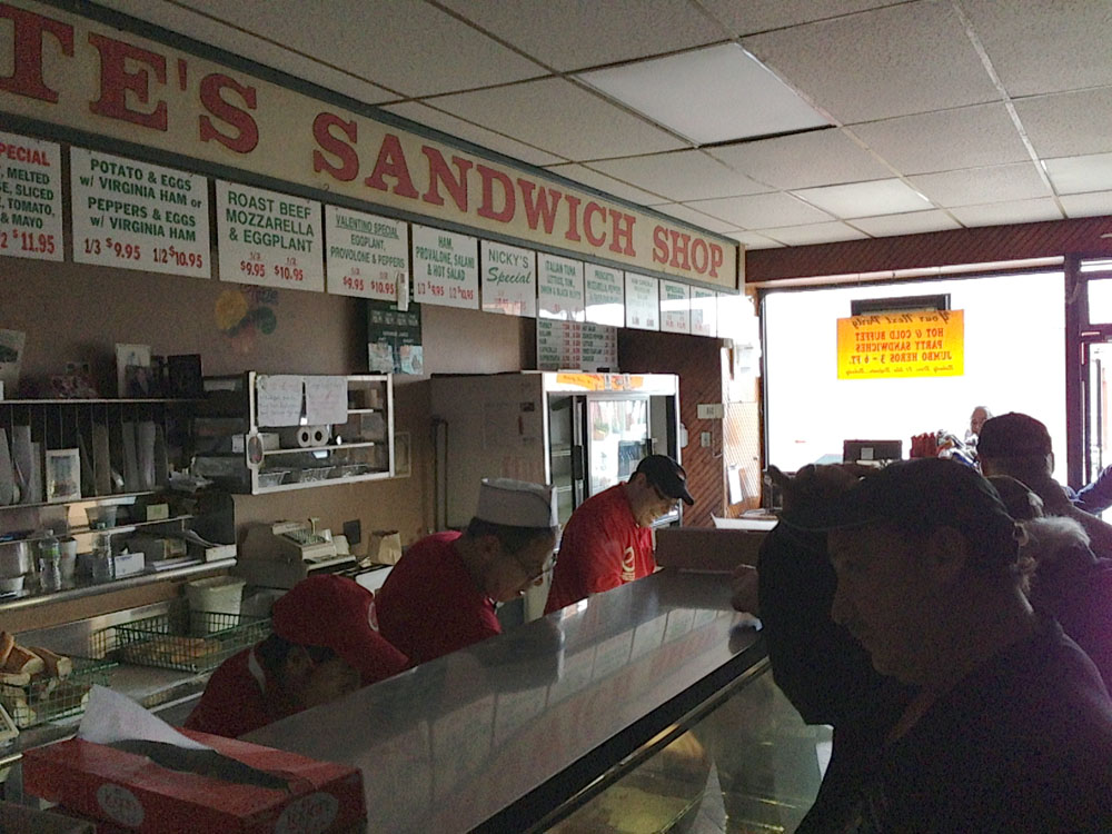 The scene at Defonte's this afternoon, where generator power meant the crew was working mostly in the dark.
