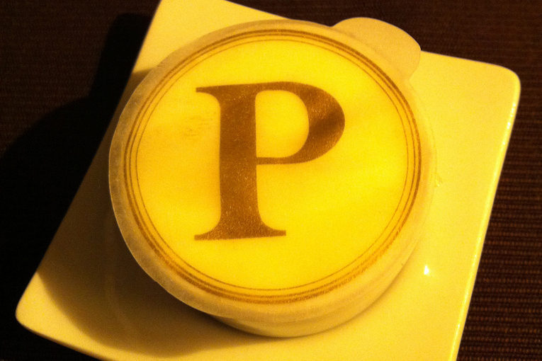 The butter. The P stands for Pushkin.