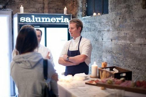 """McNaughton and Sigler talk shop during a January <a href=""""http://sf.eater.com/archives/2012/01/09/a_sneak_peek_at_central_kitchen_and_salumeria.php#central-kitchen-and-salumeria-8"""">preview event </a>at Salumeria."""