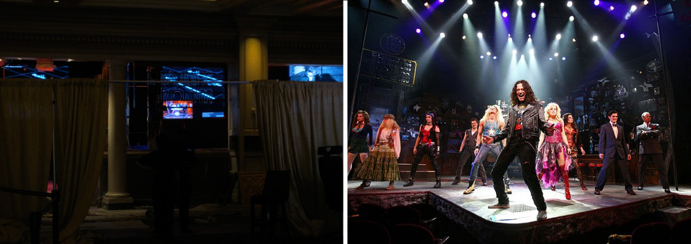 The Bourbon Room under construction at the Venetian, left, and a scene from Rock of Ages.