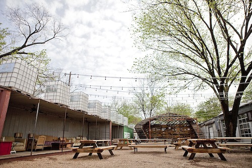 The patio at Chicken Scratch and the Foundry.