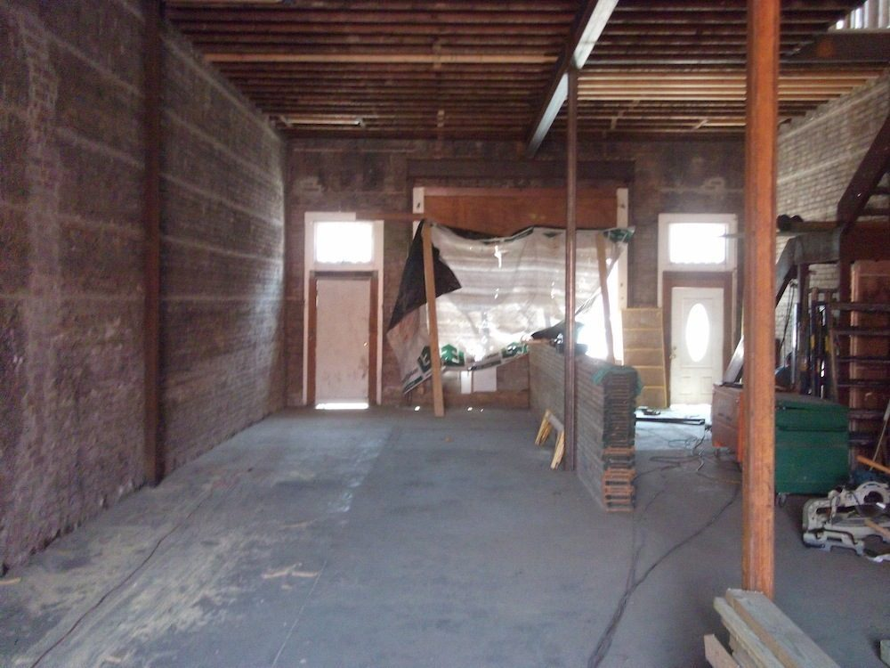 Bottom floor, looking towards what will be the entrance.