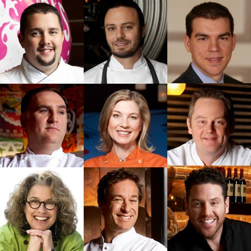 Left to right from top: Anthony Meidenbauer, David Myers, Jason Smith, José Andrés, Mary Sue Millien, Scott Conant, Stephen Hopcraft, Susan Feniger and Bruce Bromberg