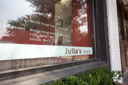 Julia's Bistro, where they've unveiled a new, spring menu.