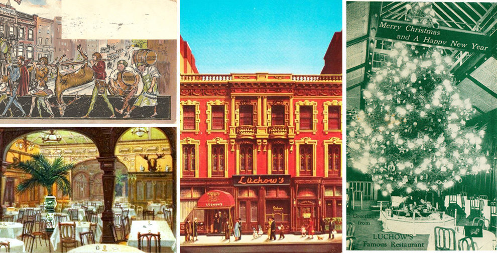 Here are a handful of postcards from Lüchow's, the popular German restaurant that opened in 1882 and closed a century later at 110 East 14th Street (now home to an NYU dorm).   August Guido Lüchow, a former waiter at a cafe on Duane Street, opened t