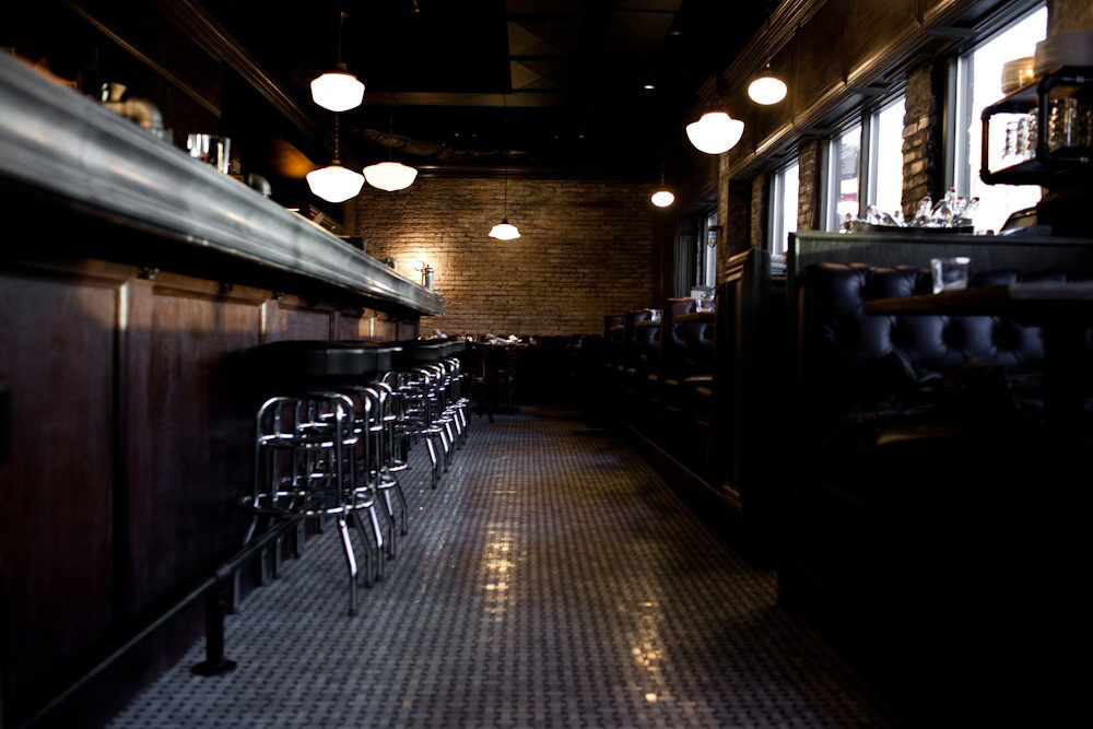 A long view of the bar