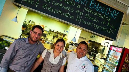 Latin Bites owners, Carlos Ramos, Rita Castre and chef Roberto Castre at the original location.