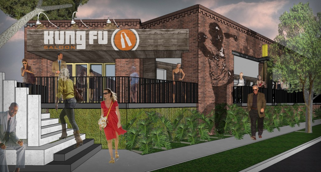 Mock-up for Kung Fu Saloon Uptown.