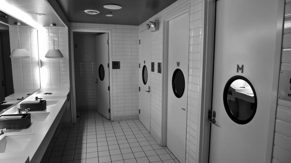 The unisex bathroom in Straits.