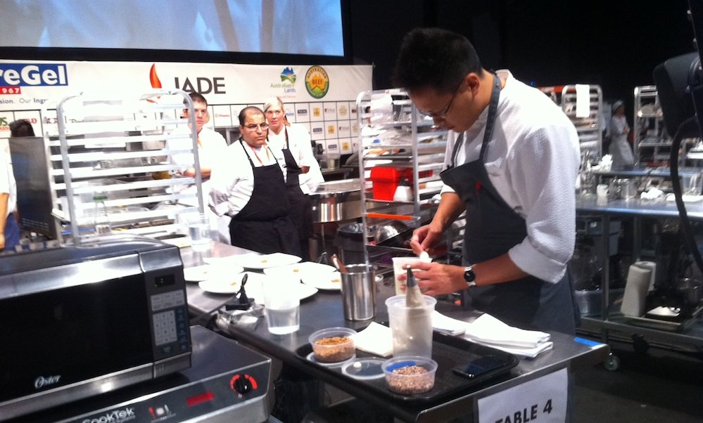 Pastry chef Chris Leung in the heat of battle.