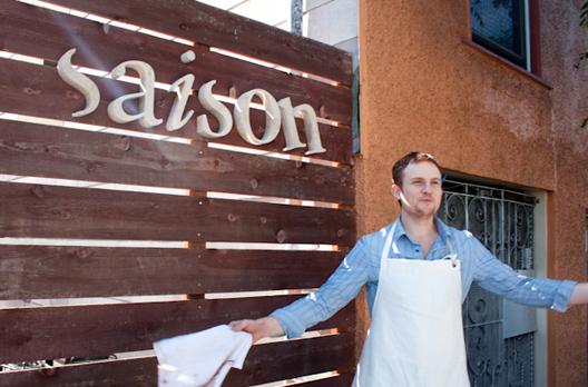 Josh Skenes models his new apron, designed by Levi's.
