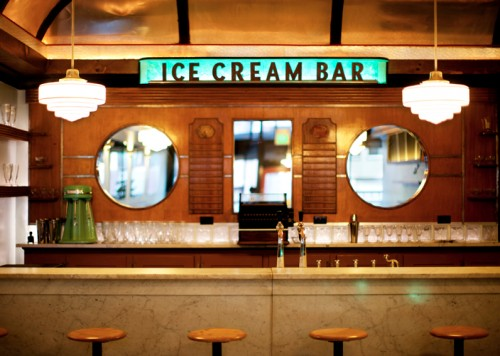 The soda fountain, marble counter top and ice cream back bar are all vintage items from the 1930's.