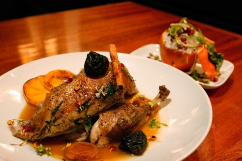 Twice roasted Liberty Farms duck, with apricots, prunes, cinnamon, braised persimmon, and Persian sweet and sour sauce.