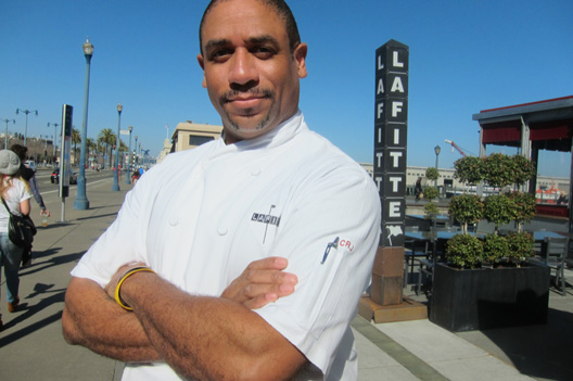 Russell Jackson outside his restaurant, Lafitte.
