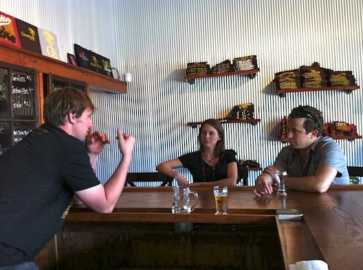 Danny Grant and his wife talking beer with Scott Sullivan of Greenbush