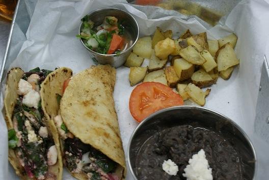 A veggie taco plate.