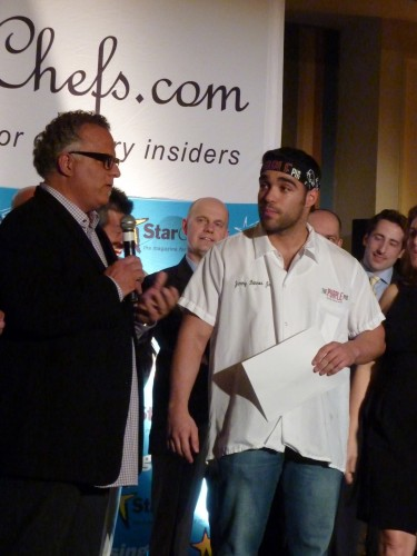Jimmy Bannos Jr. of The Purple Pig accepting his award from his father and mentor Jimmy Bannos Sr.