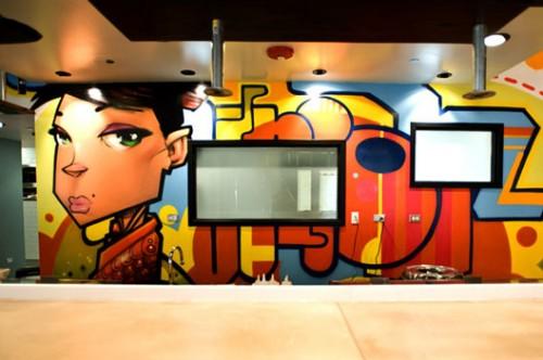 Street art and graffiti is seen throughout the restaurant