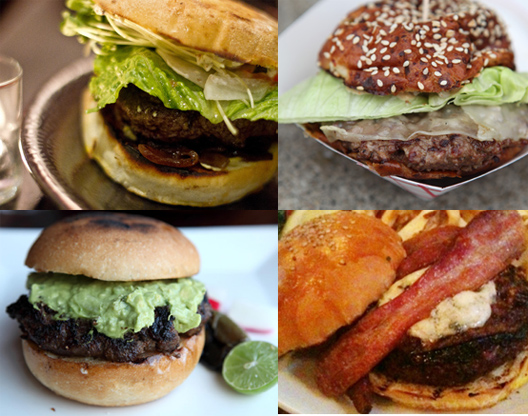 """Clockwise from top left: burgers from Namu (<a href=""""http://www.flickr.com/photos/cozysf/5350886165/"""">photo credit</a>), 4505 Meats (<a href=""""http://www.google.com/imgres?imgurl=http://thehamblogger.com/wp-content/uploads/2010/05/4505meats3.jpg&amp;"""