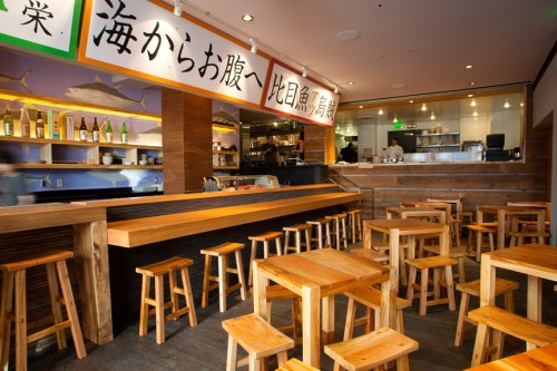 The lounge at street level is the restaurant's focal point, filled out with small Mexican-style shaker tables crafted in Guadalajara and Japanese bathing stools