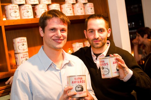 Big winners Rich Torrisi and Mario Carbone of Torrisi Italian Specialties took home NYC Restaurant of the Year and National Restaurant of the Year. The awards will look at home on the stocked shelves at Torrisi.