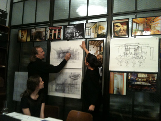 """The design meeting for Andrew Carmellini's upcoming and unnamed restaurant in Soho, via <a href=""""http://www.andrewcarmellini.com/"""">AndrewCarmellini.com</a>]"""