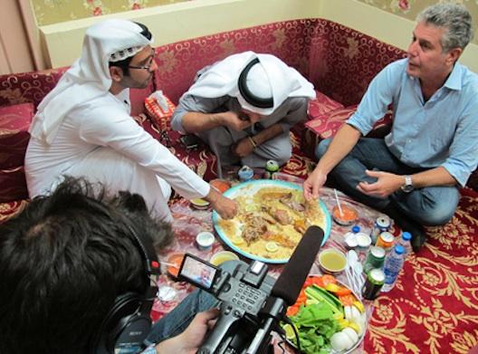 Bourdain in a Dubai home.