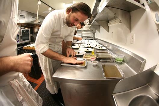 Day Eight: Paul Liebrandt prepares the tuile for a foie gras dish.