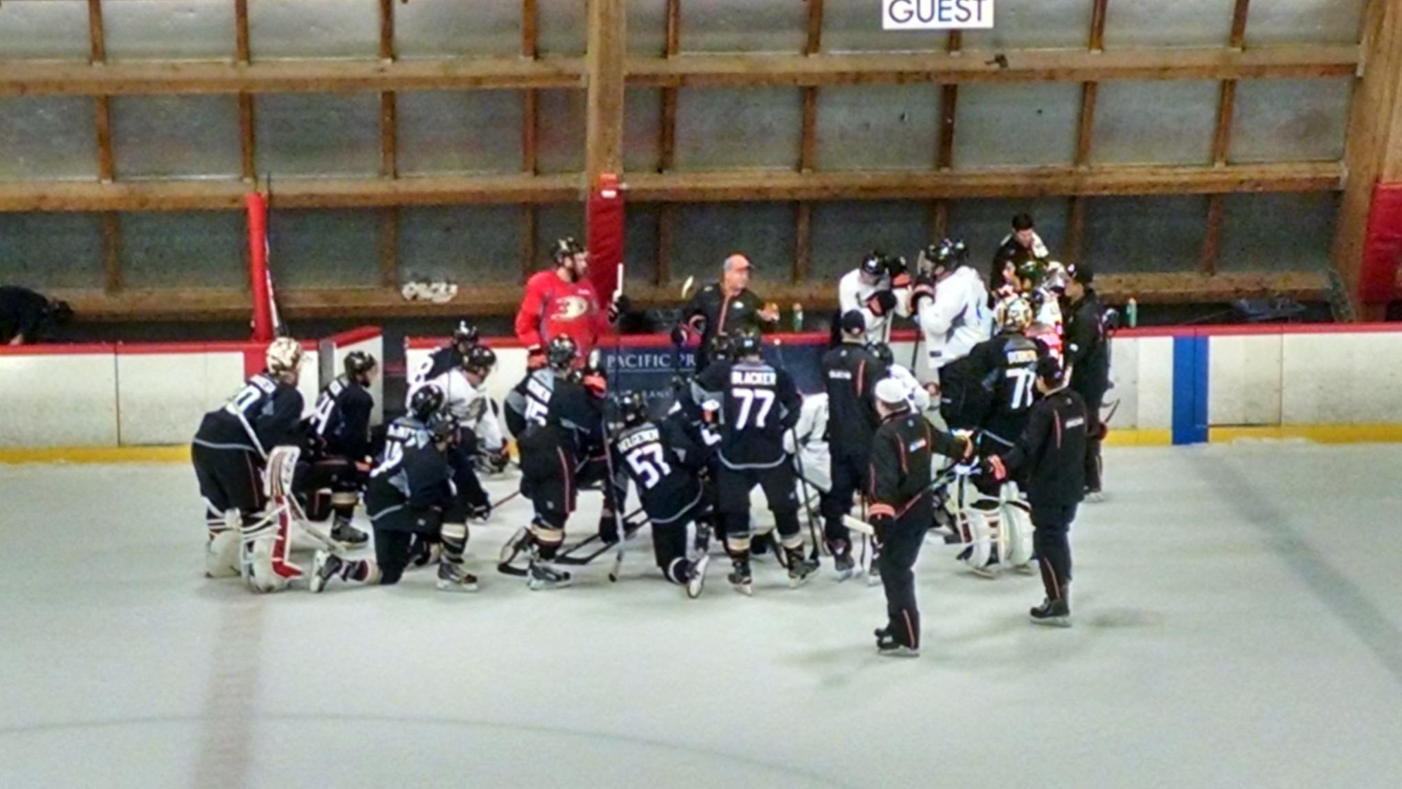 Coach Bruce Boudreau wraps up the final public session of Ducks training camp