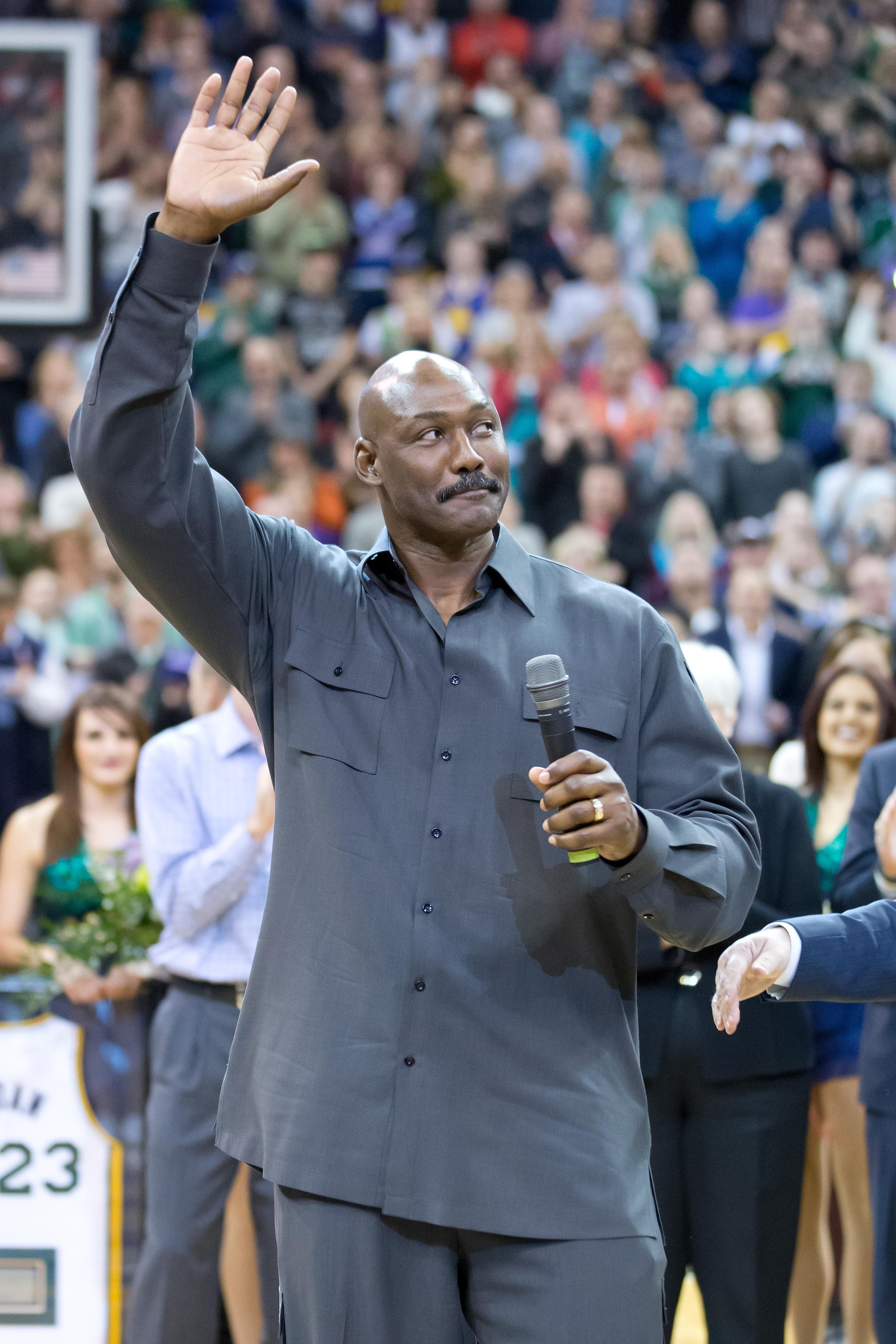 Karl Malone waves goodbye to the traditional power forward job in the NBA...