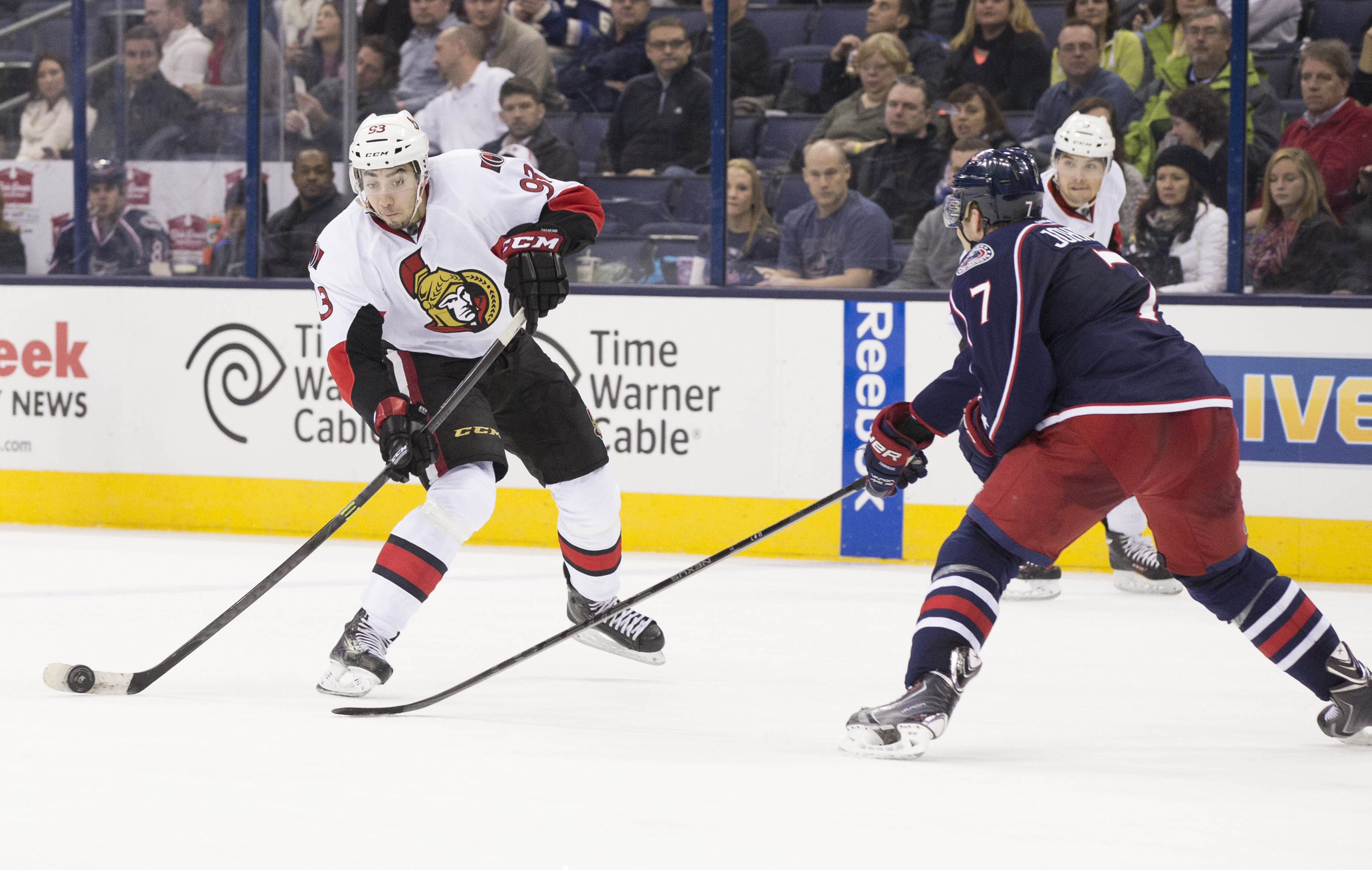 Zibanejad walks into a shot from the high slot area from a game last season against the Columbus Blue Jackets