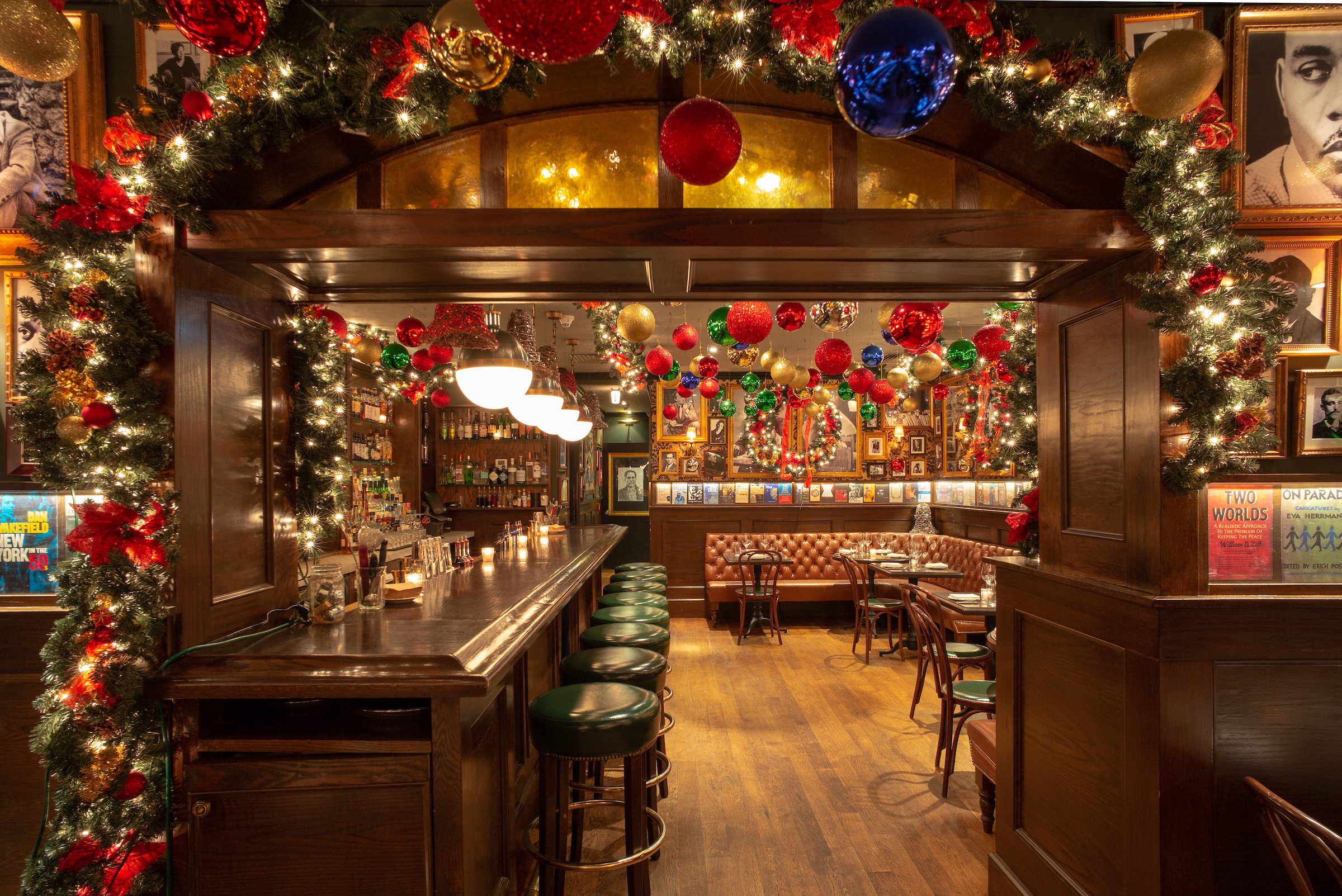 The Chumley's bar with Christmas decorations