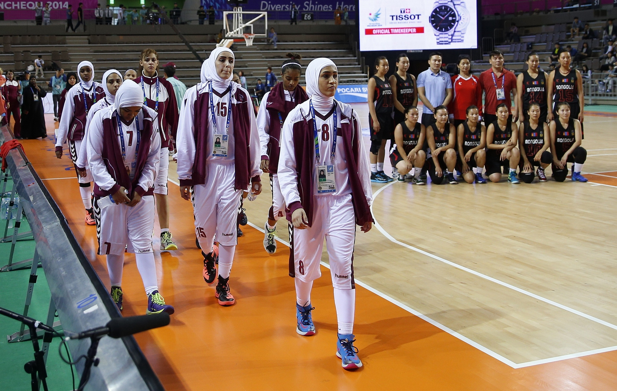 The Qatari women's basketball team walked out on the Asian Games in protest of FIBA's rule against wearing hijab.