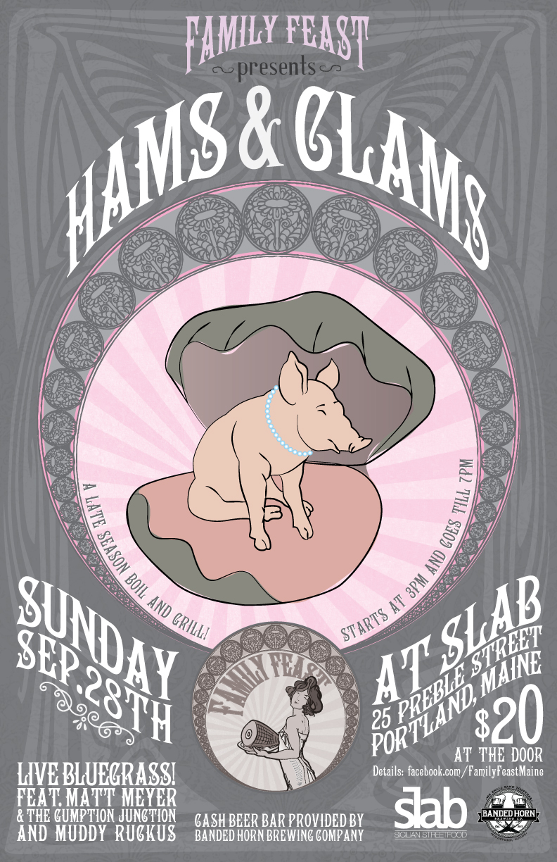 Poster for Hams and Clams, the upcoming Family Feast pop-up event.