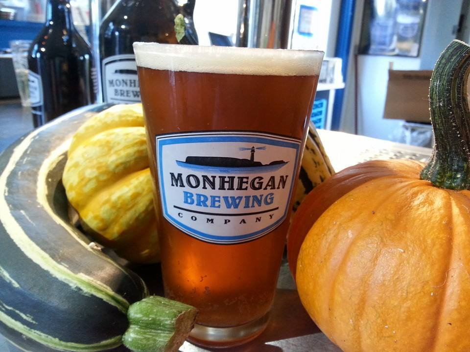 A glass of Monhegan Brewing Company's wet-hopped Island Farm Double IPA.
