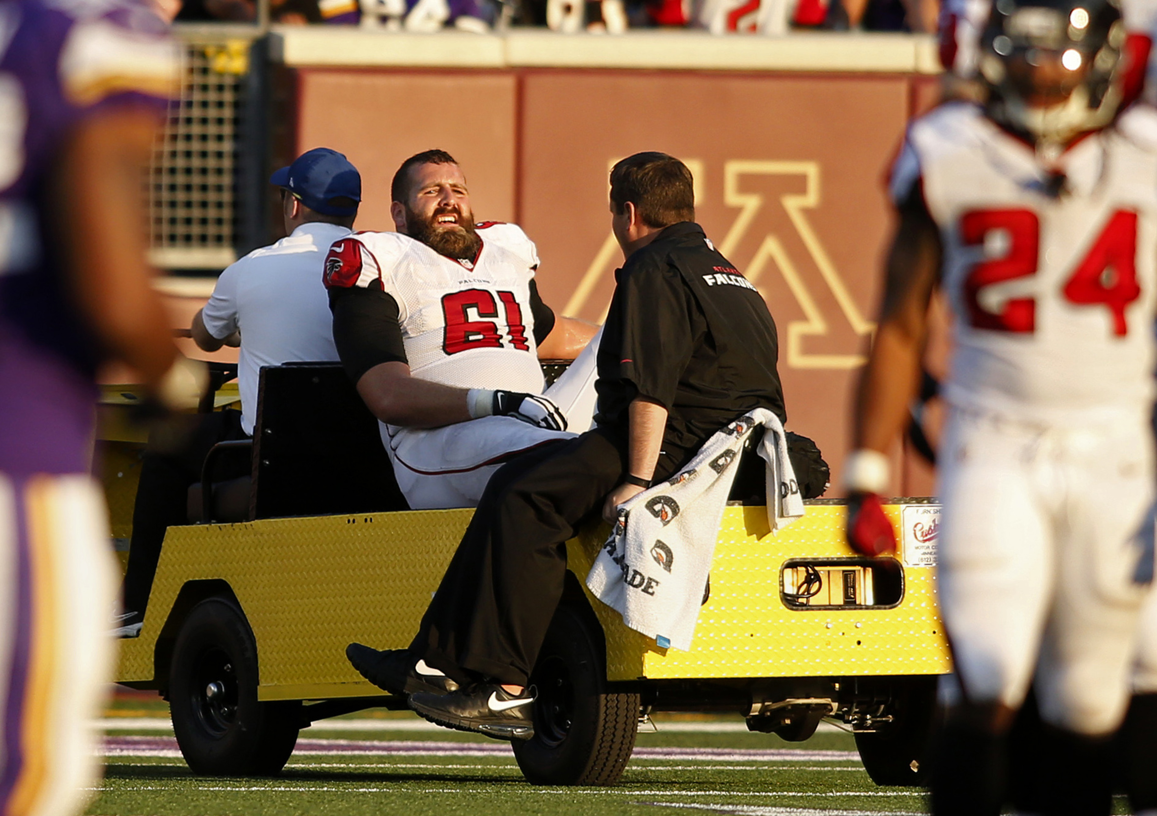 Center Joe Hawley is one of two Falcons offensive linemen to be placed on IR this week