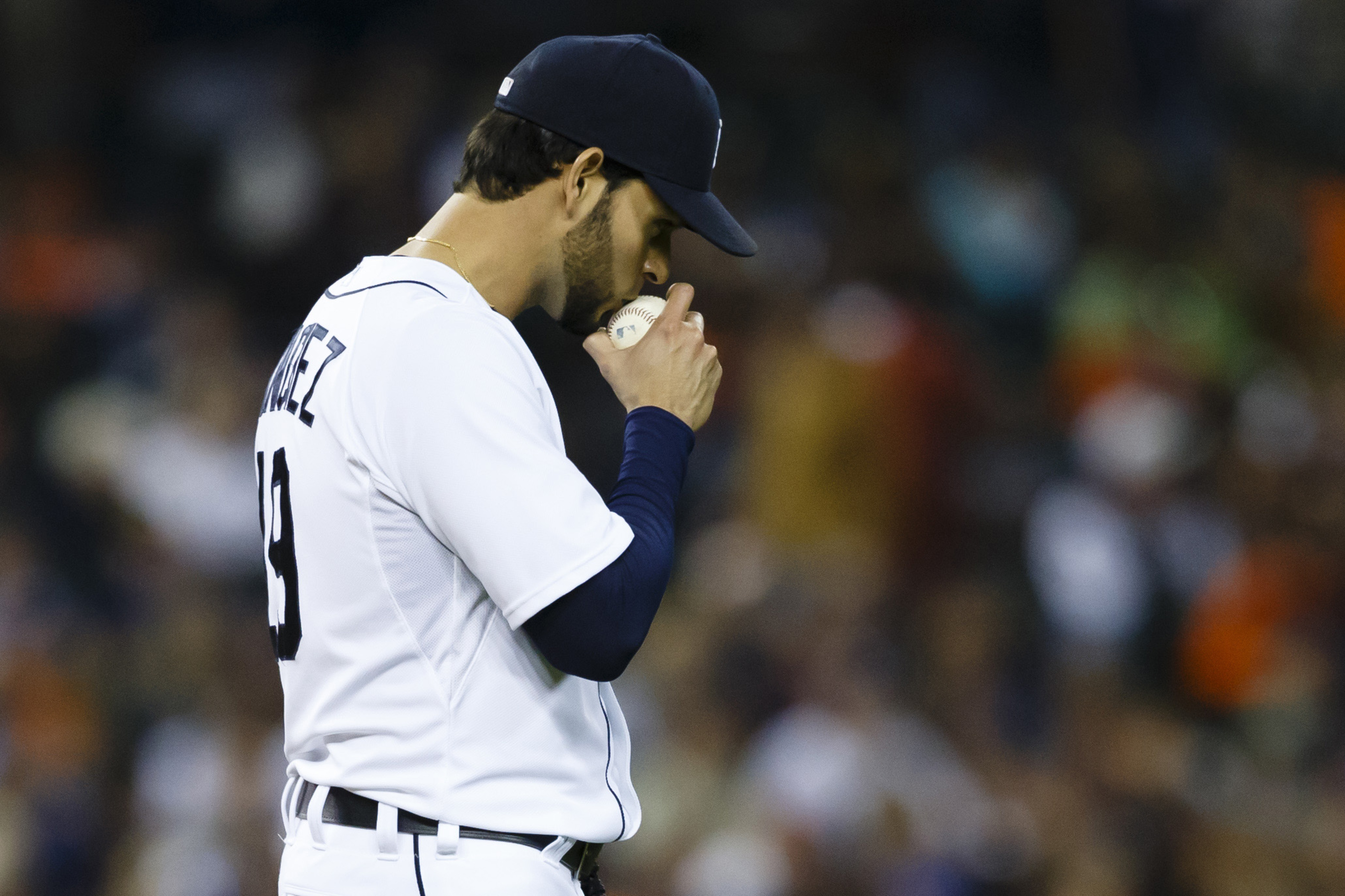 Anibal Sanchez kisses the ball before pitching in the seventh inning on September 26, 2014