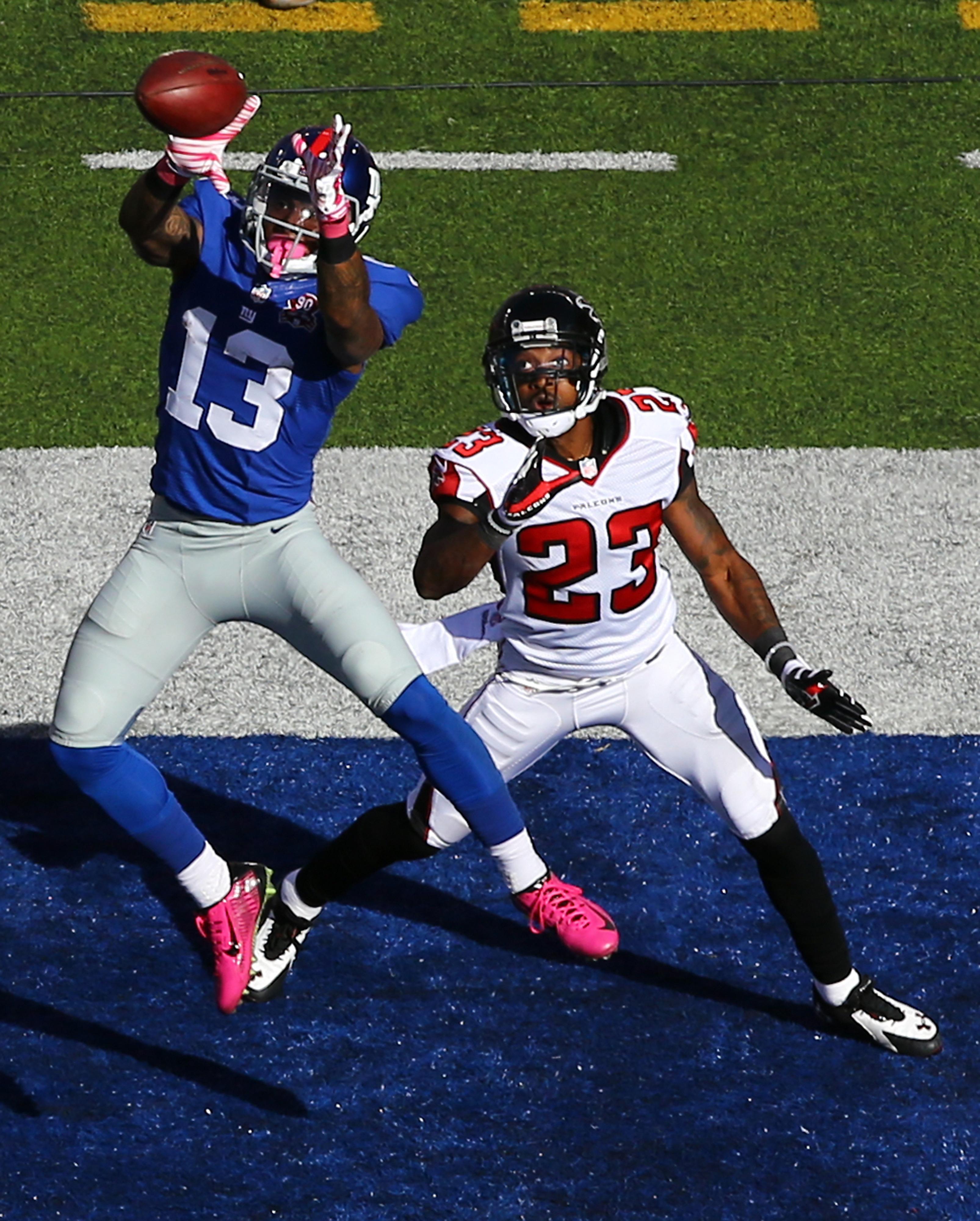 Odell Beckham catches his first career touchdown pass
