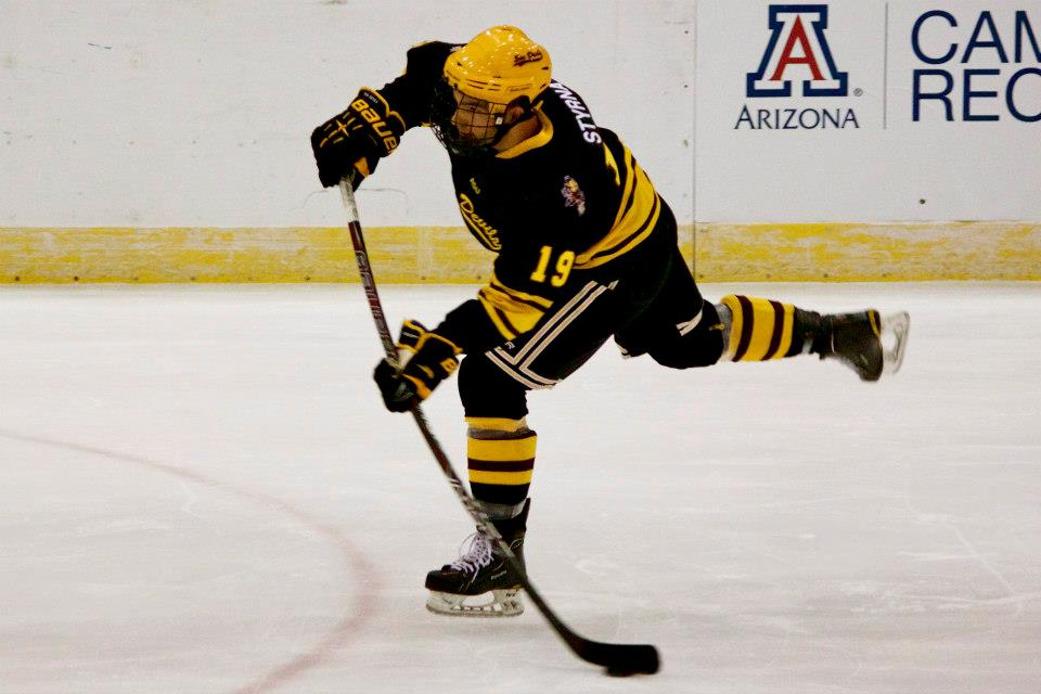 Dan Styrna unleashes a wicked wrister against Arizona