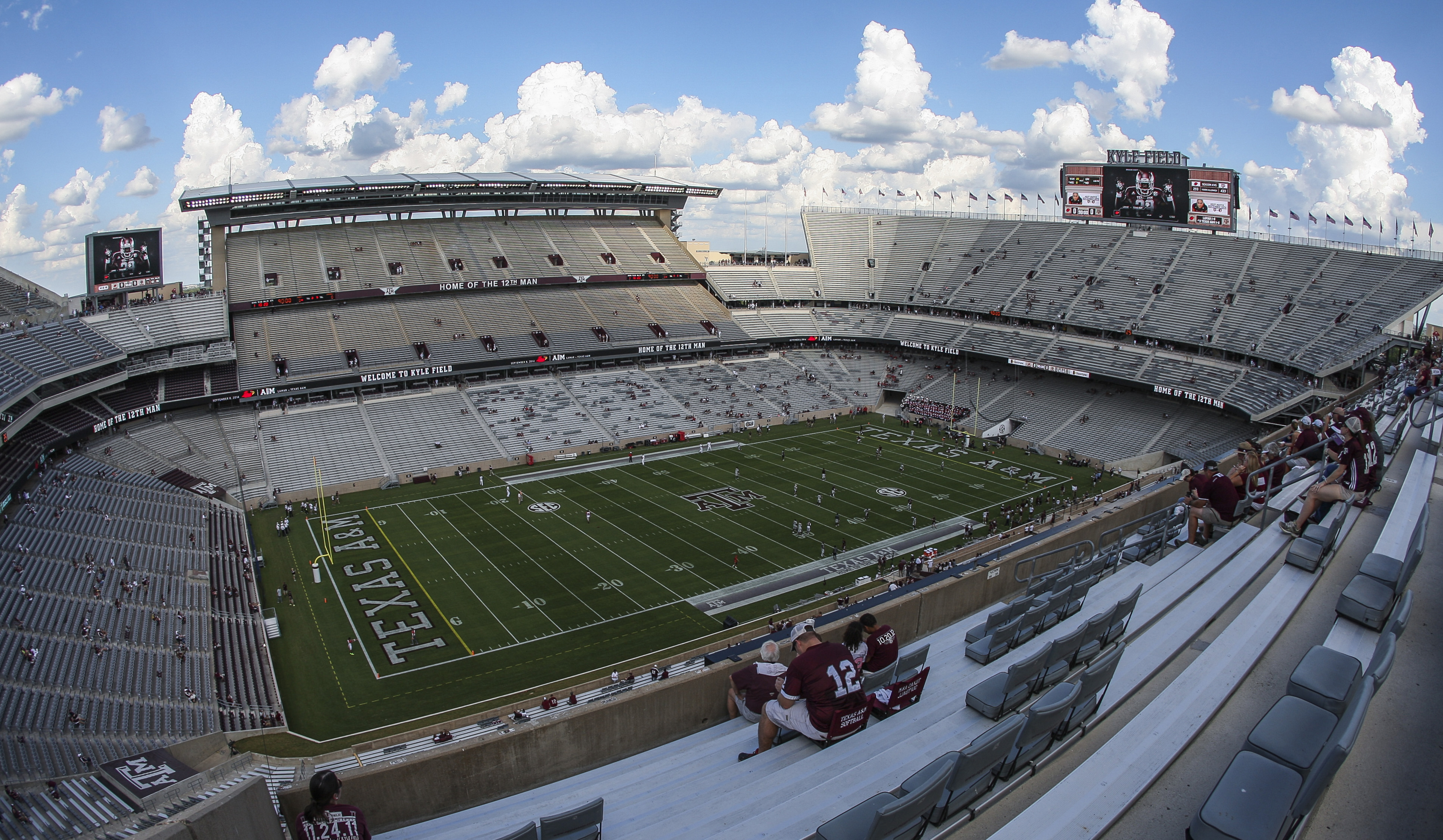 Kyle Field will play host to the largest crowd ever to see a football game in Texas Saturday.