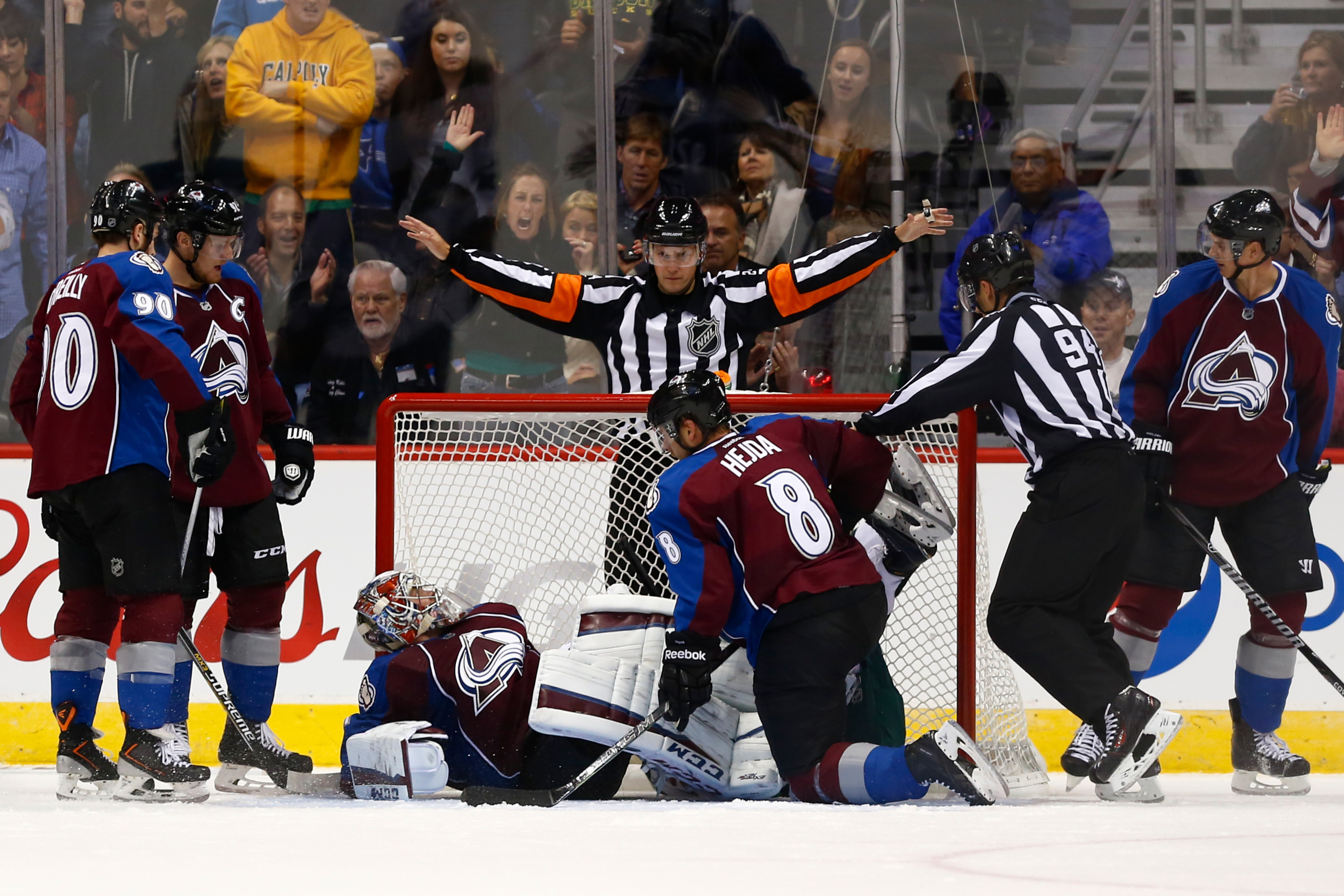 """Avalanche players agree with the """"no goal"""" call. Since goals are impossible."""
