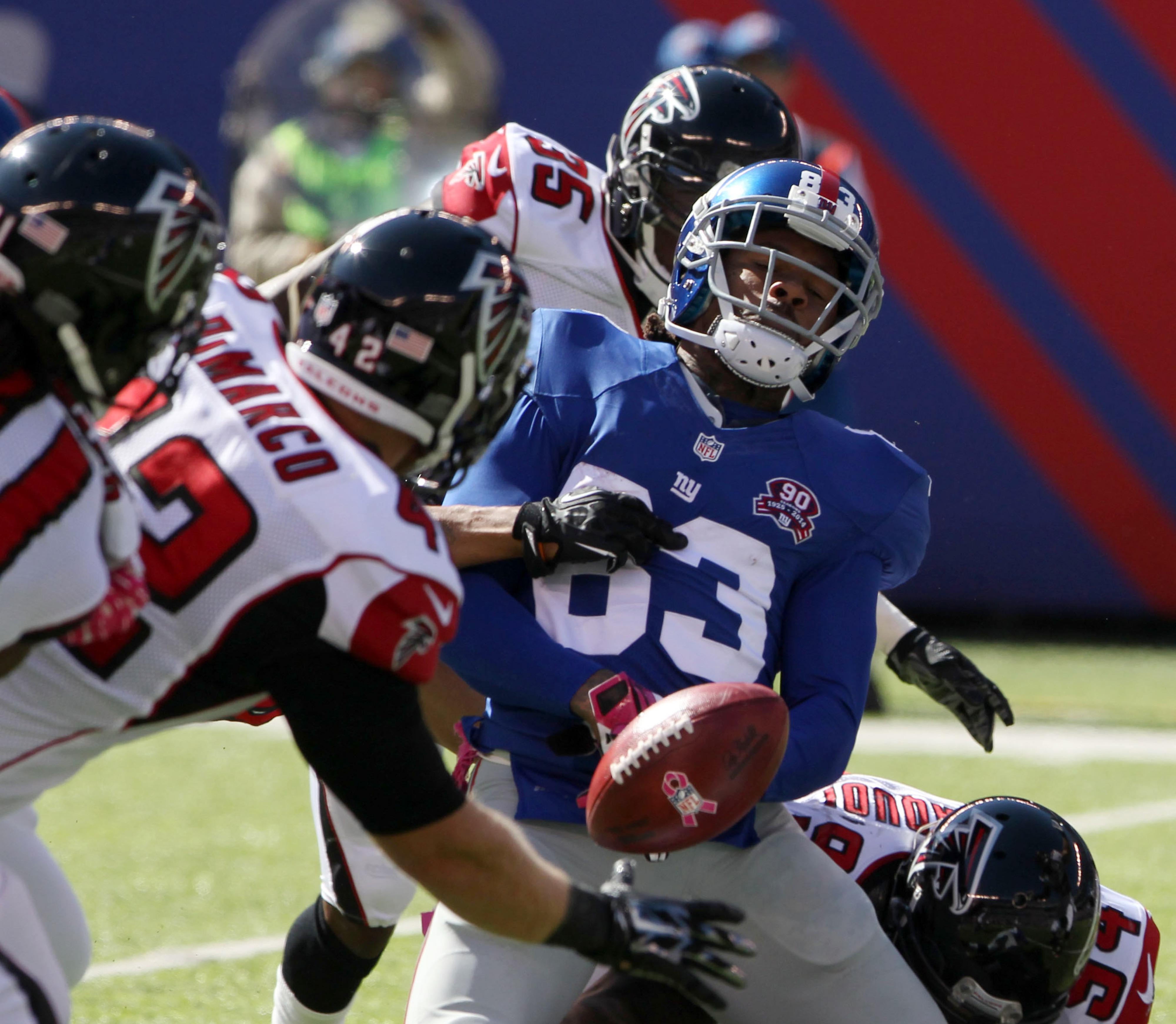 Preston Parker fumbles against the Atlanta Falcons