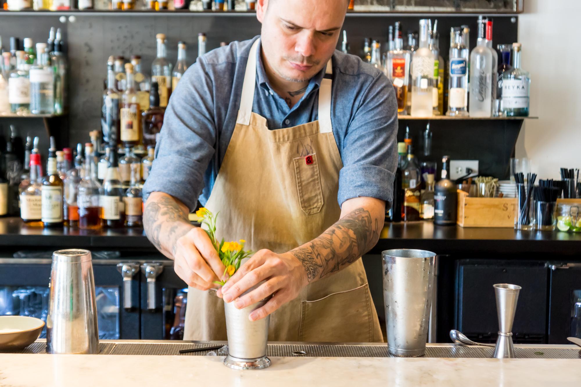 FT33 barman Tristan Price makes a Marigold Mint Julep.