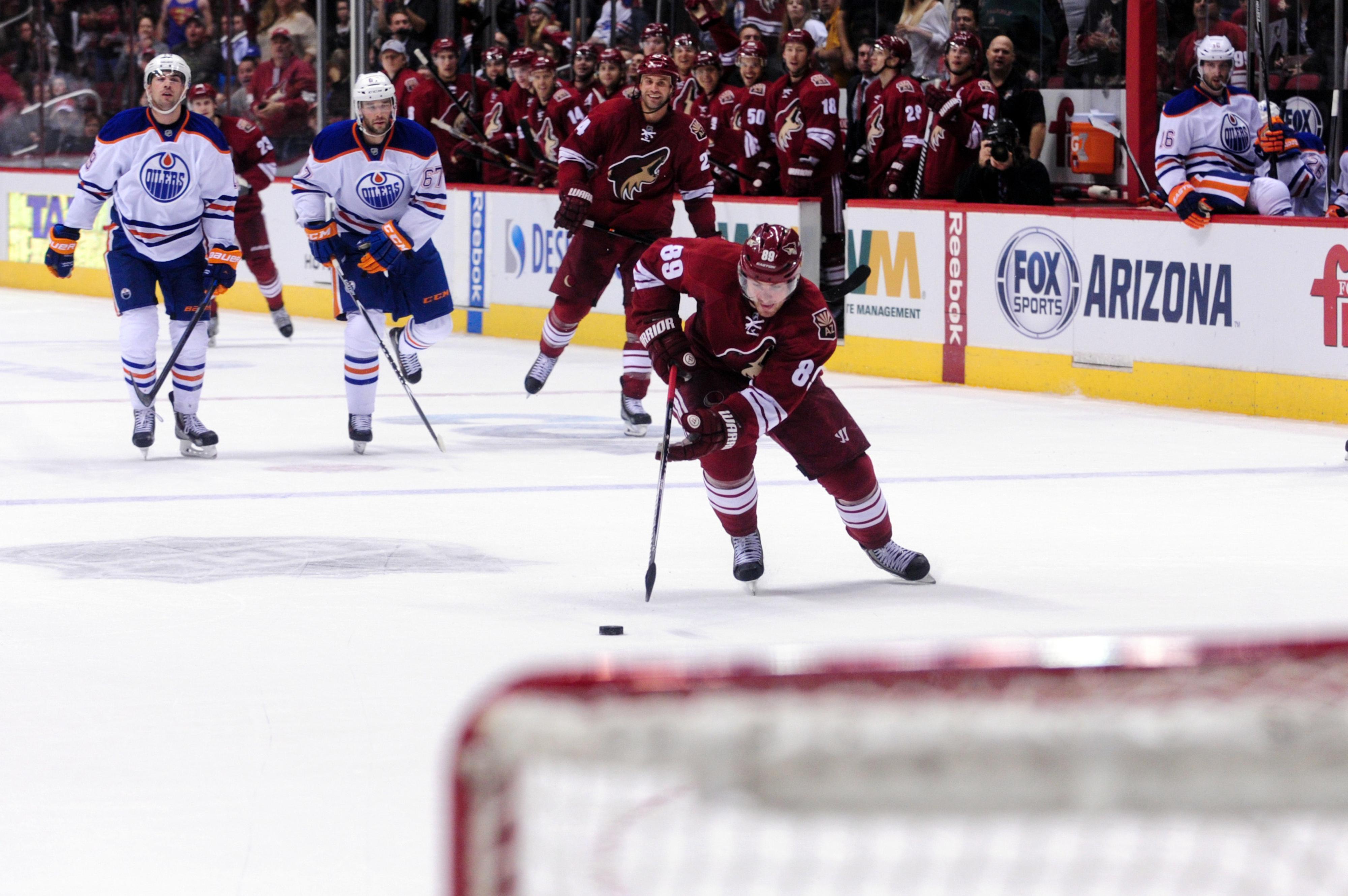 Mikkel Boedker makes the Oilers give up.