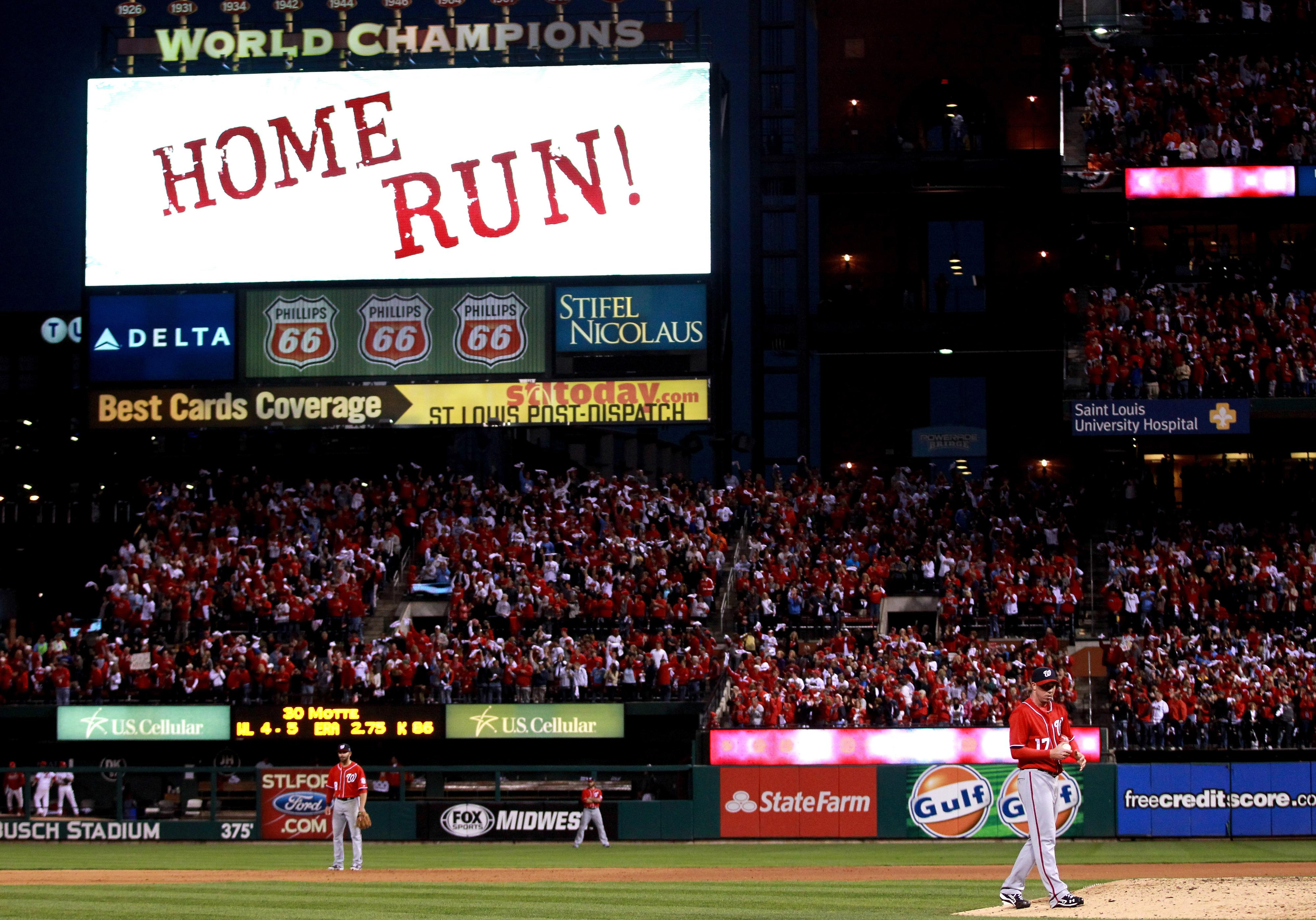 Sean Burnett allows a home run against the Cardinals in the NLDS.