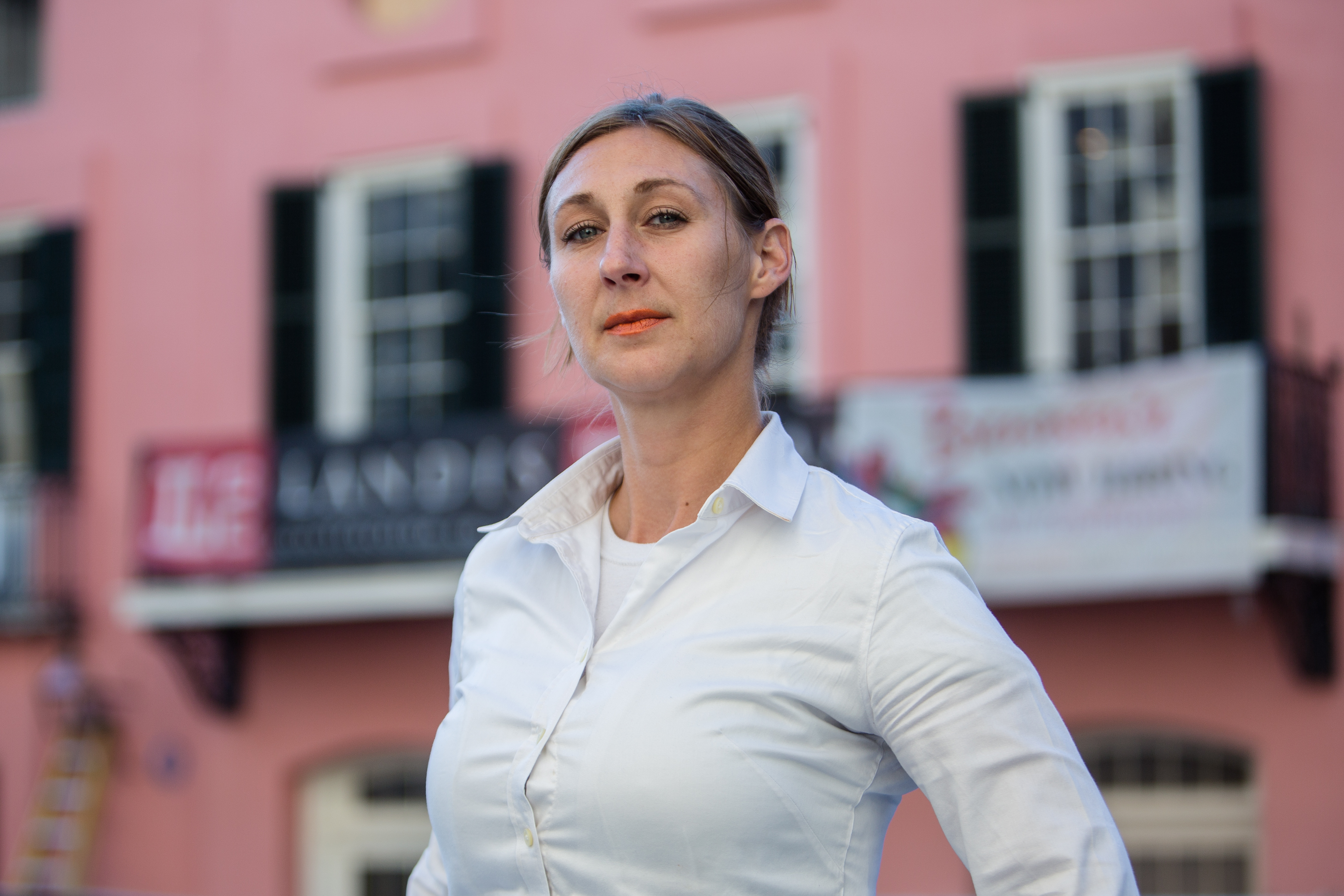 Carrie Dumaine, in front of upcoming Brennan's