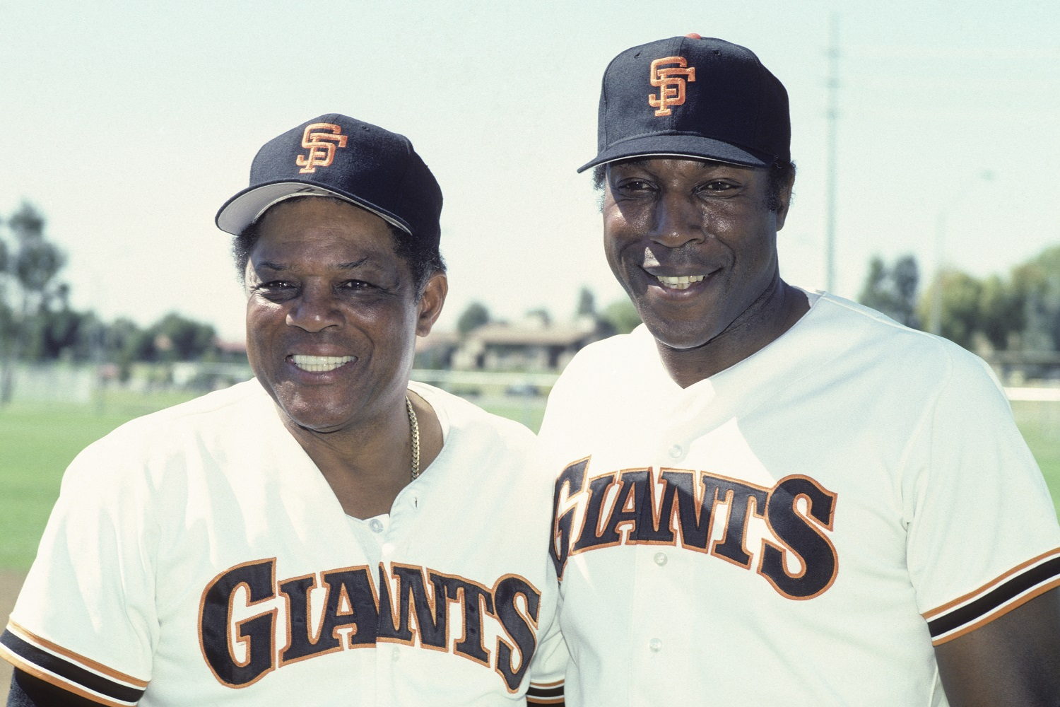 Willie Mays and Willie McCovey at spring training 1986
