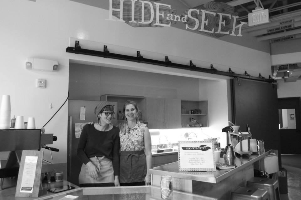 Sarah Hollows (L) and Rachel Nelson of Hide and Seek Coffee.