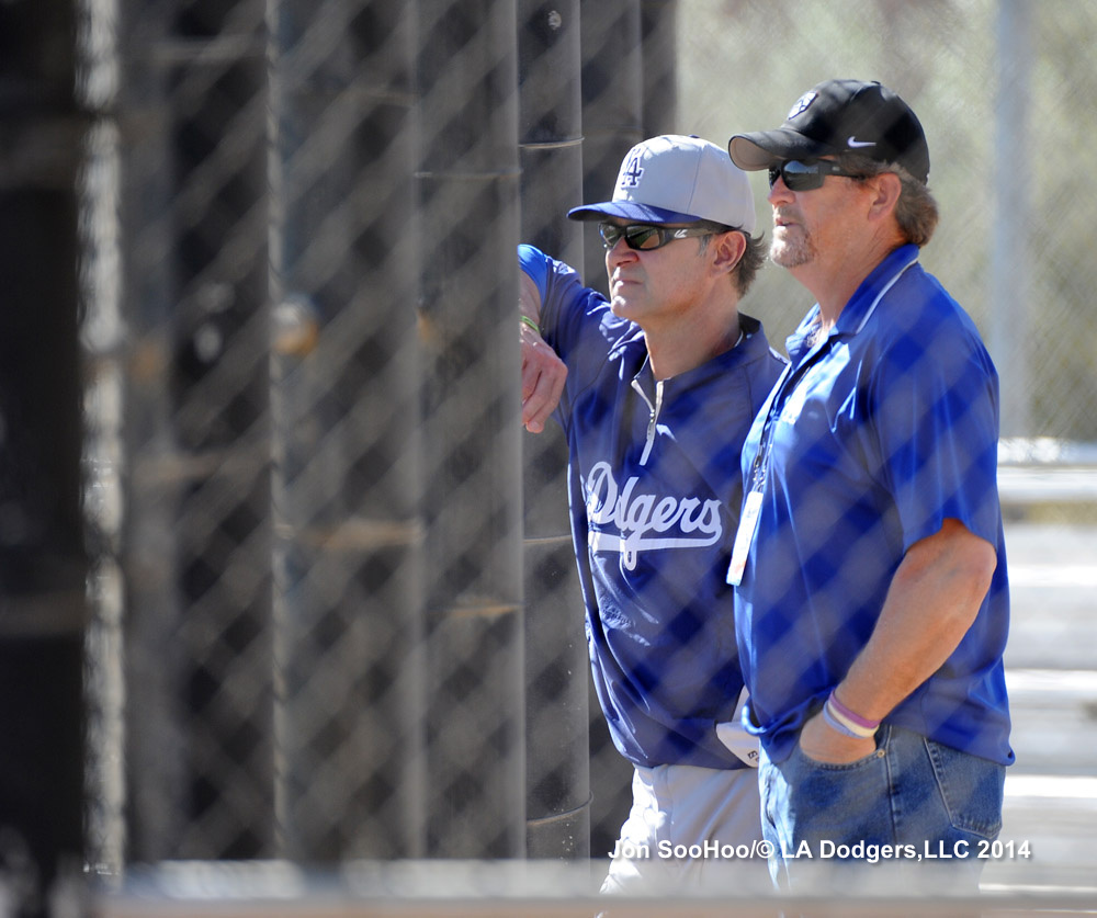 Logan White, seen here with manager Don Mattingly during spring training in 2014.